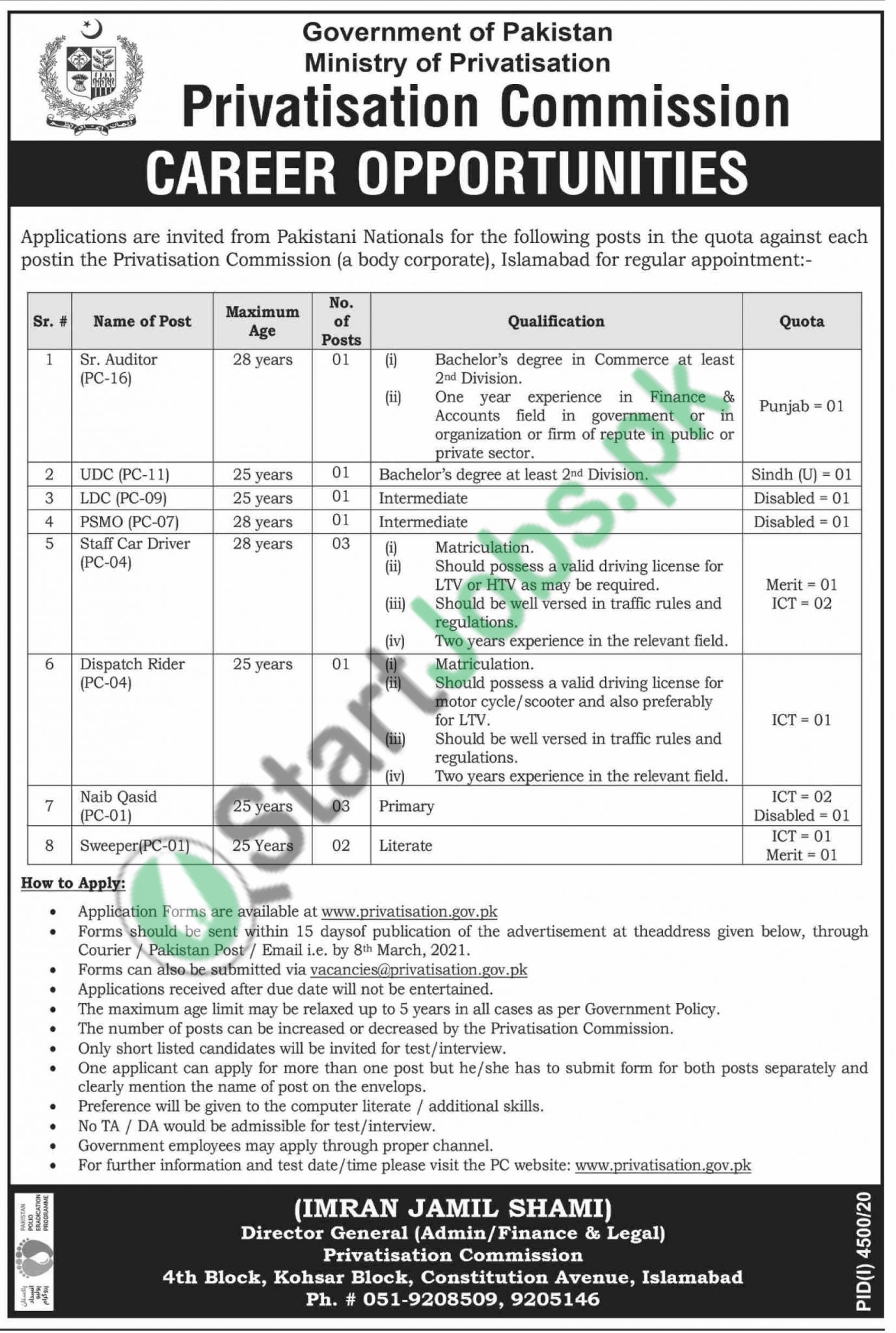 Ministry of Privatization Jobs Application Form 2021